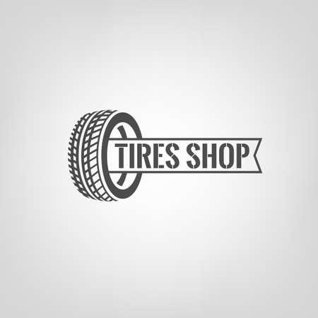 Mooie illustratie van de band winkel logo. Moderne grafische stijl. Vervoer automotive concept. Digital pictogram collectie