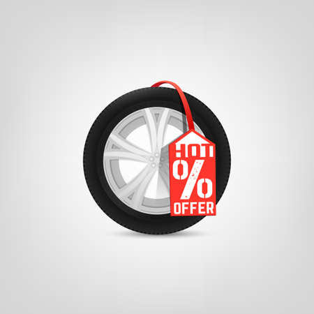 car bills: Beautiful illustration of the tire shop sale image with bright red tag. Modern realistic graphic style. Transportation automotive concept. Digital pictogram collection Illustration