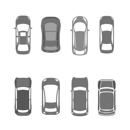 cars road: Vector graphic set of top view car abstract silhouettes.