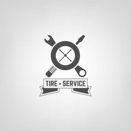 gear icon: Beautiful vector illustration of the tire shop and service  Illustration