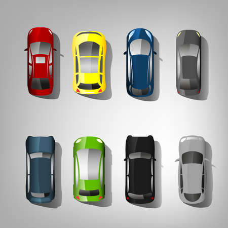 voluminous: multicolored set of top view car abstract silhouettes.