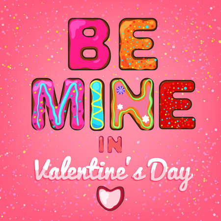 saint valentine s day: Beautiful hand drawn vector typography in a shape of freshly baked cakes and cream decoration. Sweet wishes for creating cute postcards, food placards and posters, cute and romantic invitations.