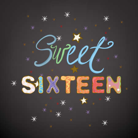 sixteen: Beautiful vector illustration of a sweet sixteen birthday party composition. Illustration