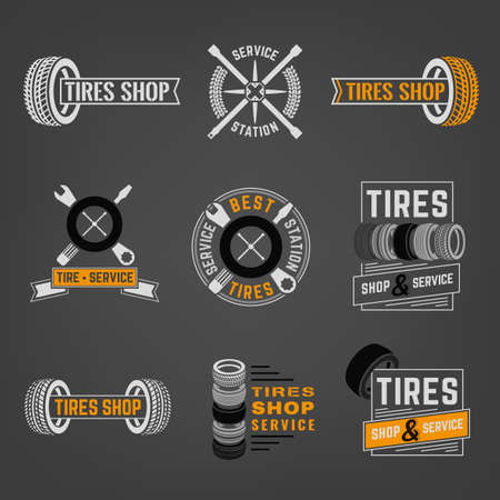 tire fitting: Beautiful vector set of the tire shop and service  Illustration