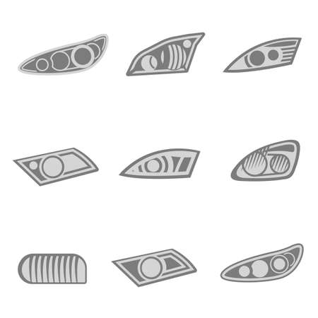 Vector graphic set of car headlights isolated icons in gray color.