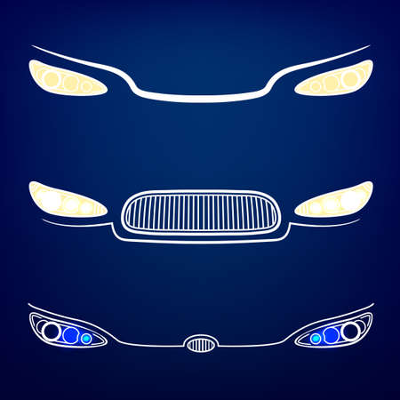 Vector graphic set of car head lights isolated icons.