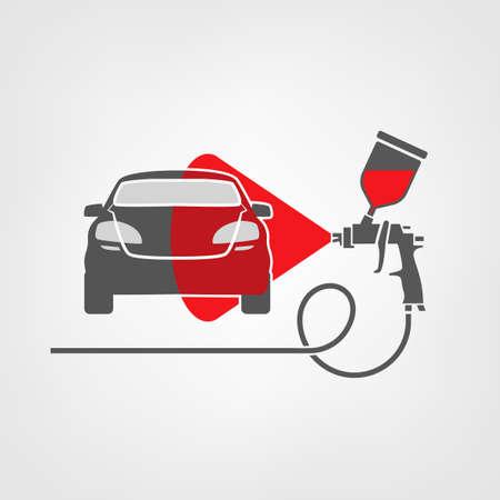 illustration of a car body repair.  Illustration