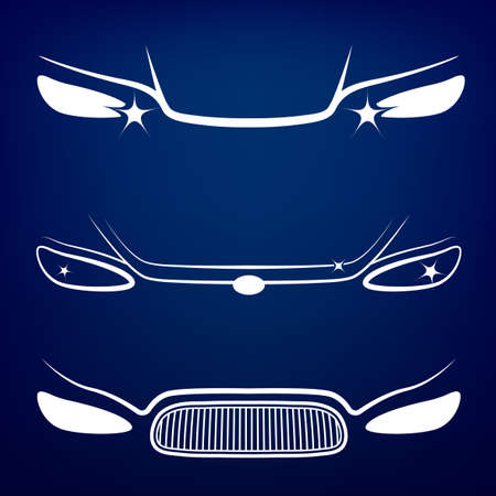 headlight: Vector graphic set of car head lights isolated icons. Editable illustration. Automotive collection in white color on a dark blue background.