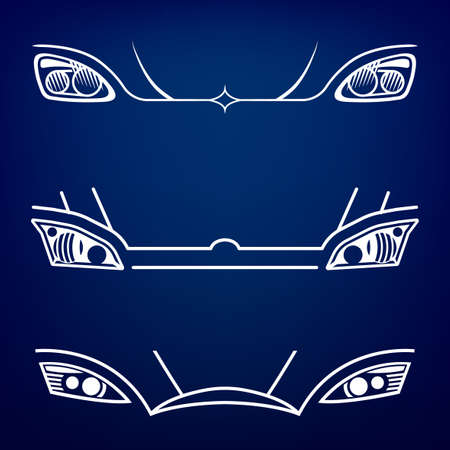 Vector graphic set of car head lights isolated icons.  Vettoriali