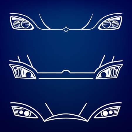Vector graphic set of car head lights isolated icons.  Ilustração