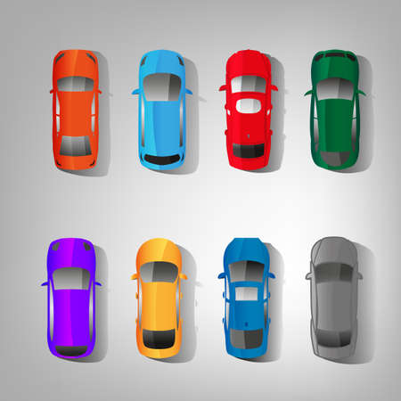 Vector graphic multicolored set of top view car abstract silhouettes.
