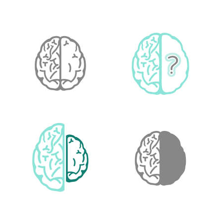 neuronal: Vector Alzheimer icons set in modern style.