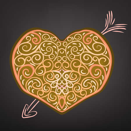 freshly baked: Beautiful hand drawn vector heart pattern in a shape of freshly baked cake and cream decoration.