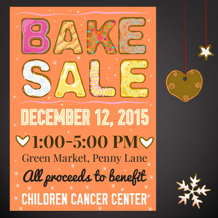 bake sale: Beautiful illustration of winter bake sale made in cute tasty style