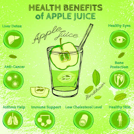 grannie: Graphic vector illustration of  beautiful hand drawn infographics with apple juice health benefits on a textured background in fresh and juicy style. Fresh fruits for healthy life. Handmade concept. Illustration