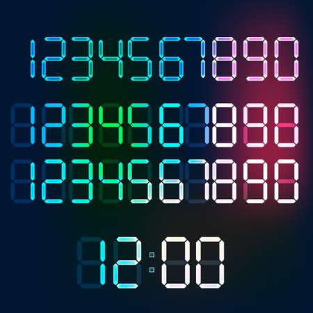 4 3 display: Beautiful illustration of digital glowing numerals.  Illustration