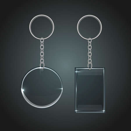 Vector illustration of a glass oval and rectangular keychain with a ring for a key, isolated on a gray background.