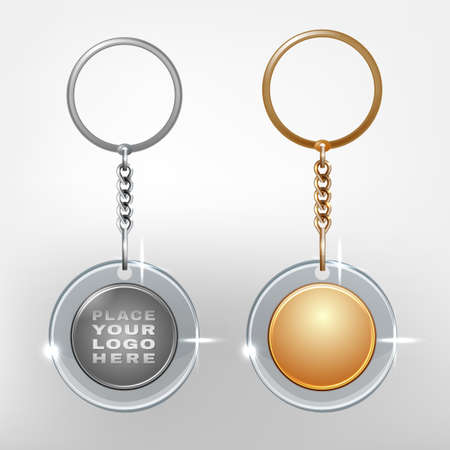 keyring: Vector illustration of a glass and metal oval keychain