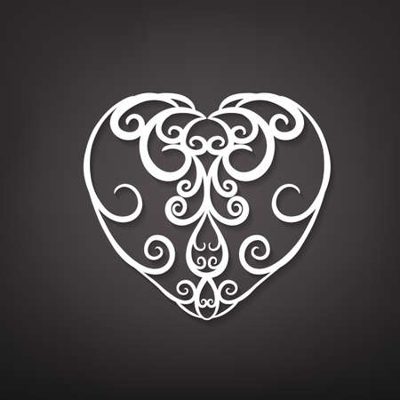 indian fabric: Beautiful vector illustration of a white decorative heart pattern in cute hand drawn style. Editable image isolated on a dark gray background useful for postcard, poster, placard or invitation design. Illustration