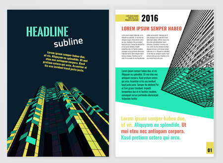 architecture and buildings: business brochure template. Bright modern backgrounds for poster, print, book, booklet, brochure and leaflet design. Editable graphic image in green, black and yellow colors