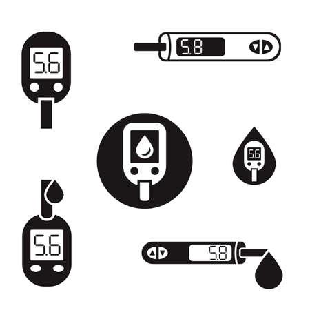Beautiful diabetic set. Blood testing flat icons. Medical editable illustration in black color isolated on white background. Ilustrace