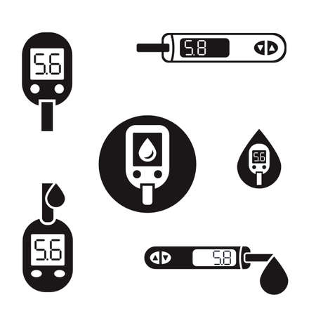 Beautiful diabetic set. Blood testing flat icons. Medical editable illustration in black color isolated on white background. Illustration