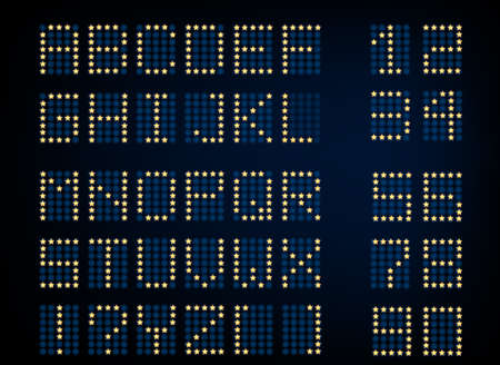 tableau: Beautiful illustration of digital glowing letters and numerals. Editable graphic illuminated alphabet useful for countdown, clock, electronic signboard or tableau creative design. Illustration