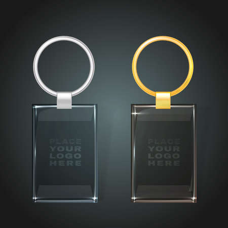 keyholder: illustration of a glass rectangular key chain with a ring for a key, isolated on a dark gray background. Ideal template for branding, identity guidelines and promo campaigns.