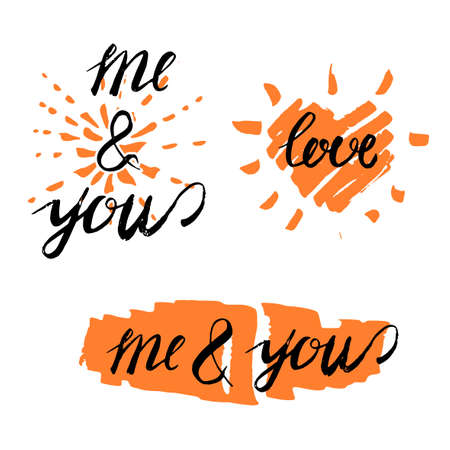 quotation: Beautiful vector illustration of handwritten romantic typography in orange and black colors on white background. Me and you. Useful for postcard, invitation, T- shirt and poster creative design.