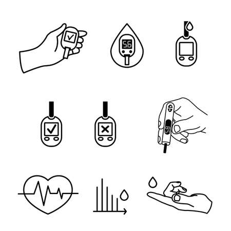 medical testing: Beautiful vector diabetic set. Blood testing flat icons. Medical editable illustration in black color isolated on white background. Illustration