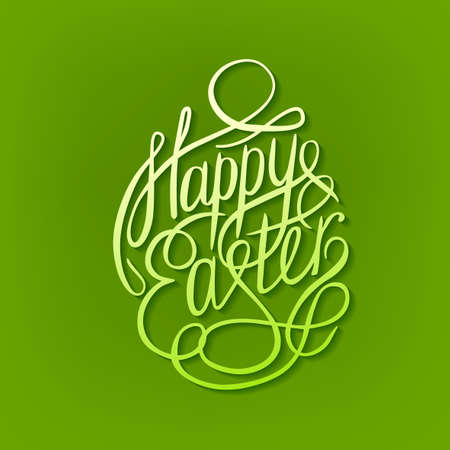 banner background: Beautiful vector illustration of handwritten Easter typography in a shape of egg in fresh green colors. Happy Easter Day. Useful for postcard, invitation, T- shirt and poster creative design.