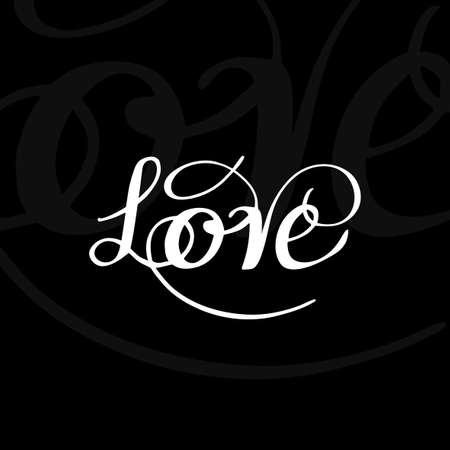 Tarjeta romántica del vector con hermosa tipografía manuscrita. Mano elementos dibujados. Ejemplo de un estilo lindo y romántico en colores blanco y negro. santo de la imagen de San Valentín. El amor es todo concepto creativo.