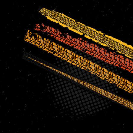 huellas de llantas: ilustración vectorial hermosa de huellas de neumáticos. fondos modernos brillantes para la impresión de carteles, volantes, libro, folleto, folleto y diseño de folleto. Editable imagen gráfica en colores naranja, negro y amarillo.