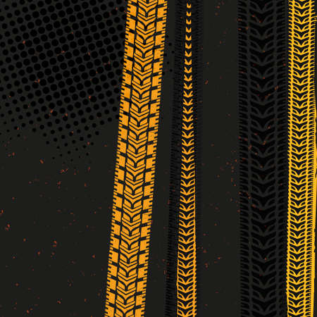 tire tracks: Beautiful vector illustration of tire tracks. Bright modern backgrounds for poster, print, flyer, book, booklet, brochure and leaflet design. Editable graphic image in grey, black and yellow colors.