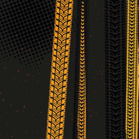 neumaticos: ilustraci�n vectorial hermosa de huellas de neum�ticos. fondos modernos brillantes para la impresi�n de carteles, volantes, libro, folleto, folleto y dise�o de folleto. Editable imagen gr�fica en colores gris, negro y amarillo.