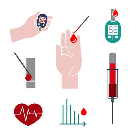 medical testing: Beautiful vector blood testing set. Blood count flat icons. Medical, pharmaceutical and healthcare concept. Editable isolated illustration in modern style. Illustration