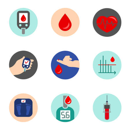 Beautiful vector diabetic set. Blood testing flat icons. Medical and pharmaceutical editable illustration in pastel colors isolated on white background.