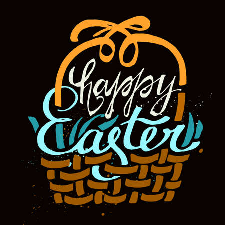 brown shirt: Beautiful vector illustrations of handwritten Easter typography on dark brown background. Happy Easter Day. Useful for postcard, invitation, T- shirt and poster creative design. Lettering set.
