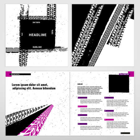 bike cover: Vector automotive brochure template. Bright modern backgrounds for poster, print, flyer, book, booklet, brochure and leaflet design. Editable graphic image in white, black and magenta colors
