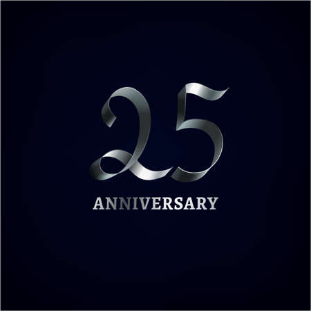 25th: Beautiful vector ribbon anniversary logotype on a dark background. Editable illustration in silver color useful for creating jubilee graphic design.