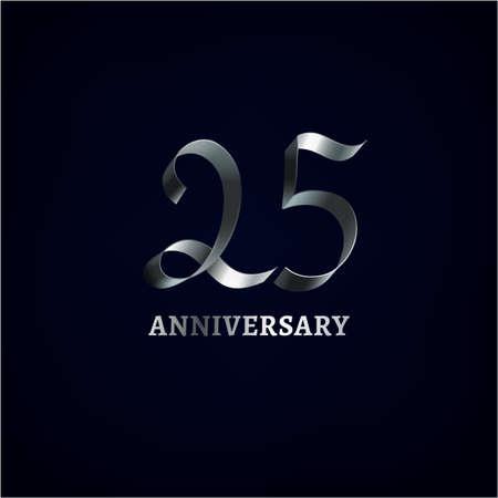 Hermoso de la cinta vector de aniversario logotipo sobre un fondo oscuro. Ilustración editable en el color de la plata de utilidad para la creación de diseño gráfico jubileo.