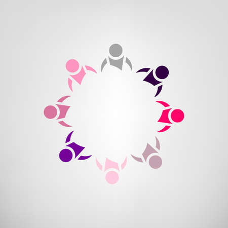 cooperating: Vector illustration of an abstract teamwork sign. Meeting together community concept. Logo and identity design. Colorful image in red, pink, violet and gray tones isolated on a light background.