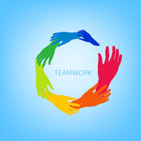 business hand: Vector Illustration of  teamwork logotype on blue background. Friendship, support, and protection concept. Editable image useful for creating icon, logo, identity, poster and T-shirt  graphic design. Illustration