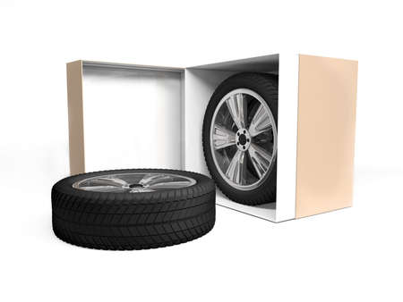 tire fitting: Concept tire gift or discount. Tires in an open cardboard box on a white background isolation