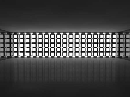 advertising column: Abstract empty illuminated light shining corridor interior, 3d render illustration Stock Photo