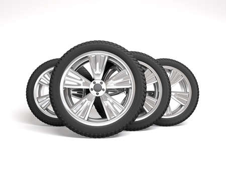 tire fitting: Set four tyres. 3D illustration isolated on white background. Stock Photo