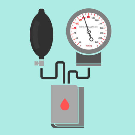 arterial: Beautiful vector illustration of blood pressure measuring. Abstract medicine symbol. Useful for sign development, indographics, postcard, leaflet, brochure, print, book and poster graphic design. Illustration