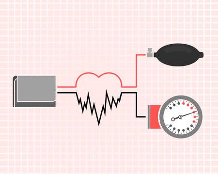 Mooie vector illustratie van de bloeddruk meten. Abstract geneeskunde symbool. Nuttig voor teken ontwikkeling, indographics, briefkaart, folder, brochure, print, boek en poster grafisch ontwerp.