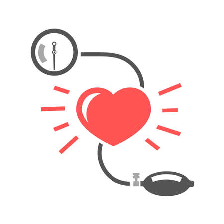 Beautiful vector illustration of blood pressure measuring. Abstract medicine symbol. Useful for sign development, indographics, postcard, leaflet, brochure, print, book and poster graphic design. 일러스트