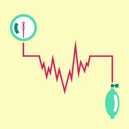 medical heart: Beautiful vector illustration of blood pressure measuring. Abstract medicine symbol. Useful for sign development, indographics, postcard, leaflet, brochure, print, book and poster graphic design. Illustration